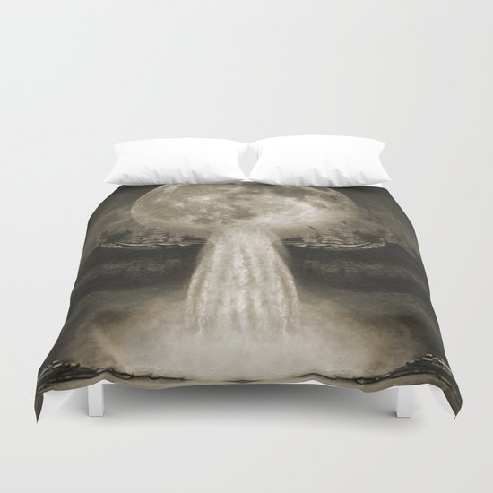 Waterfall Moon Sepia Duvet Cover