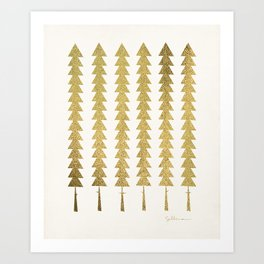 Gold Fancy Trees Art Print