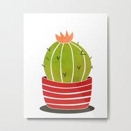 A cactus in a pot Metal Print
