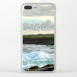 """The journey is the destination"" Hawaii black sand beach photo Clear iPhone Case"