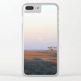 Moonrise on the Salt Marsh Clear iPhone Case