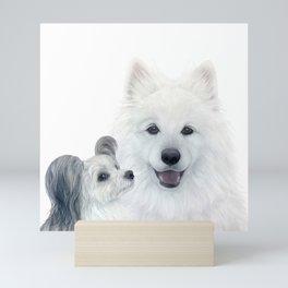 Samoyed dog and friend by Miart Mini Art Print