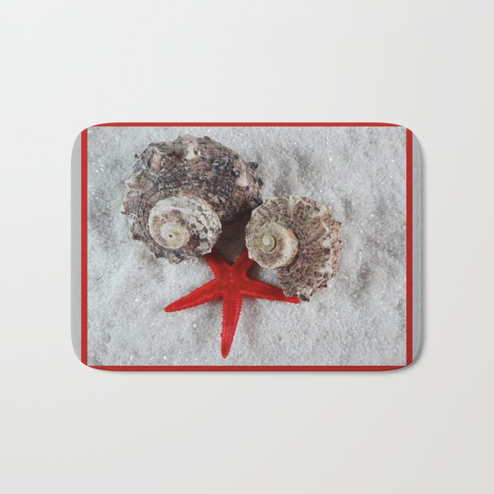 Seashell and Red Star Bath Mat