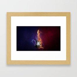 Cool Music Guitar Fire Water Artistic Framed Art Print
