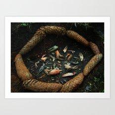 Crayfish and pine cones #3 Art Print