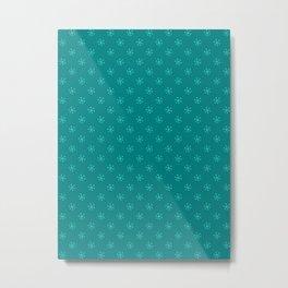 Turquoise on Teal Snowflakes Metal Print