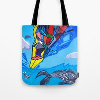 transformer Tote Bags featuring Trippy Transformer Bird Mixed Media Painting on Canvas by VibrationsArt