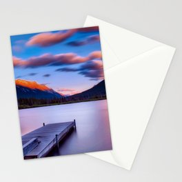 Canada Photography - Dock By The Lake And Beautiful Landscape Stationery Cards