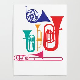 Colorful Wind Musical Instrument Musician Player Poster