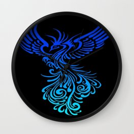 Rising From The Ashes Phoenix Blue Aqua Ombre Wall Clock