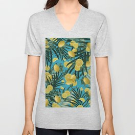 Summer Lemon Twist Jungle #4 #tropical #decor #art #society6 Unisex V-Neck