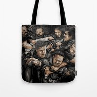 sons of anarchy Tote Bags featuring Sons of Anarchy-War by Denis O'Sullivan