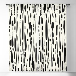 Abstract Stripes in Cream and Black III Blackout Curtain