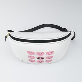Cool Pig Pink Different Mood Faces Of Personality For Pig Pink Lovers T-shirt Design Farm Farmer  Fanny Pack