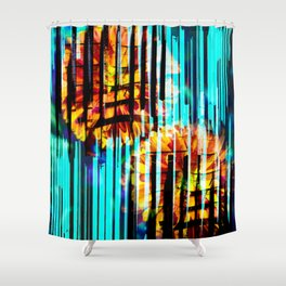 Floral Keys [orange+blue] Shower Curtain