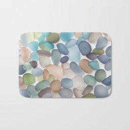 Assorted multicolored glass pebbles Bath Mat