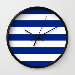 Resolution blue - solid color - white stripes pattern Wall Clock