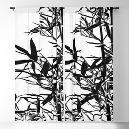 Black Bamboo Silhouette On White Blackout Curtain