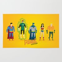 justice league Area & Throw Rugs featuring Justice League of America - Pixel Nostalgia by Boo! Studio