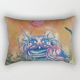 God King Owl, Surreal Animal Art Rectangular Pillow
