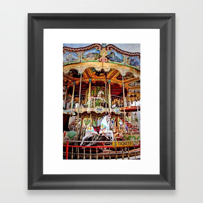 double decker carnival carousel horse framed art print by