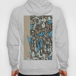 drawing and sketching abstract in blue with brown background Hoody