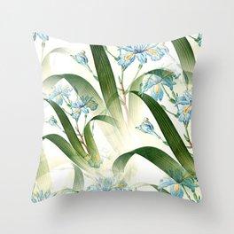 Blue Spring Flowers Pattern Throw Pillow