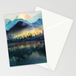 Mountain Lake Under Sunrise Stationery Cards