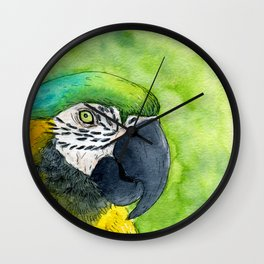 Watercolor blue and yellow macaw Wall Clock