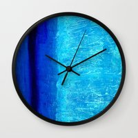 aqua Wall Clocks featuring Aqua by BruceStanfieldArtistPainter