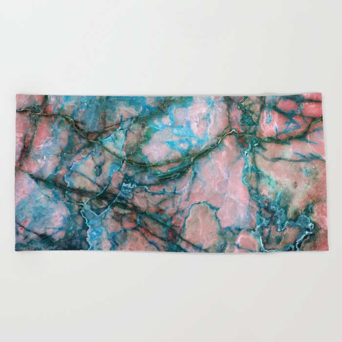 Pink and Blue Marble Beach Towel