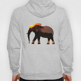 Elephant Silhouette with Africa Scene Inlay Hoody