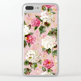Vintage green pink white bohemian hortensia flowers Clear iPhone Case