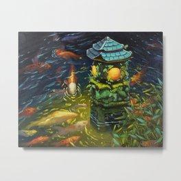 Stone lantern with Koi fishes oil painting Metal Print
