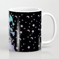 pastel goth Mugs featuring Creepy Cute Fairy Kei Pastel Goth Bats, Stars, and Crescent Moons by KawaiiMachine