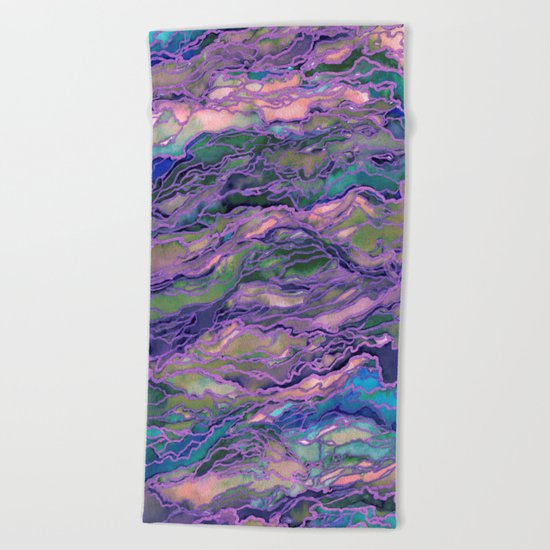MARBLE IDEA! LAVENDER PINK PEACH Abstract Watercolor Painting Colorful Geological Nature Marbled Art Beach Towel