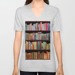 Book Lovers Gifts, Antique bookshelf Unisex V-Neck