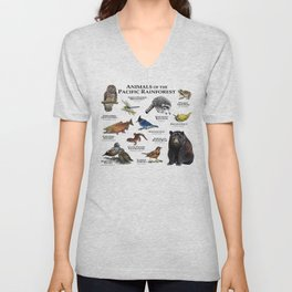 Animals of the Pacific Rainforest Unisex V-Neck