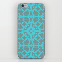 gray pattern iPhone & iPod Skins featuring Turquoise and Gray Pattern  by xiari