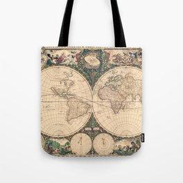 Vintage World Art Map Tote Bag