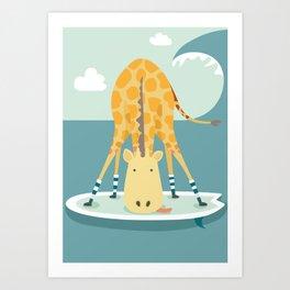 Surfing Giraffe Art Print
