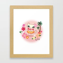 Hula Kitty - Kawaii Cat dancing the Hula Framed Art Print