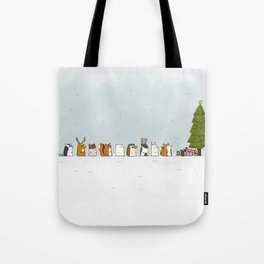 winter animals on the christmas tree Tote Bag