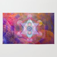 sacred geometry Area & Throw Rugs featuring Sacred Geometry vision by Green Culture Designs