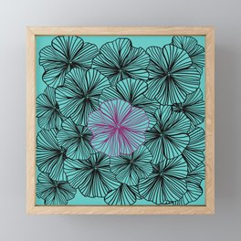 Teal Dancing With Petunias Framed Mini Art Print