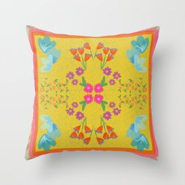 Scarf with Florals Throw Pillow