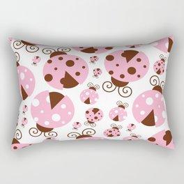 Ladybugs (Ladybirds, Lady Beetles) - Pink Brown Rectangular Pillow