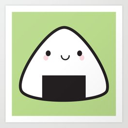 Kawaii Onigiri Rice Ball Art Print