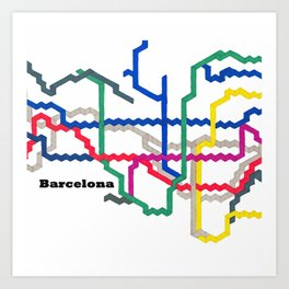 Barcelona Metro Map Square Art Print