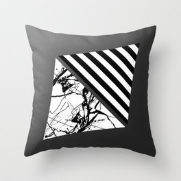Stripes N Marble 3 - Abstract Black and white stripes and marble textured triangles on metallic Throw Pillow